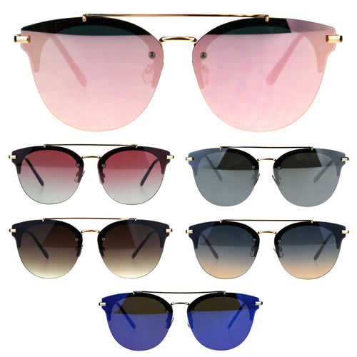 Round Rimless Half Rim Mens Fashion Luxury Sunglasses