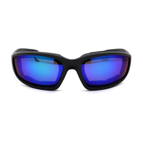 Mens Color Mirror Foam Padded Warp Around Biker Goggle Style Sunglasses