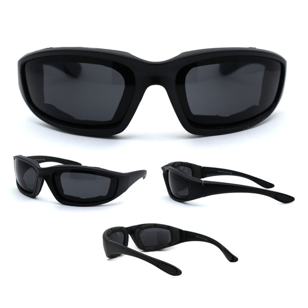 Mens Foam Padded Warp Around Biker Goggle Style Sunglasses Matte Black