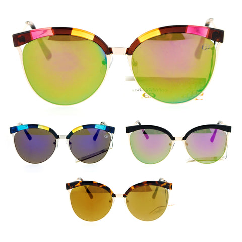 SA106 Womens Half Rim Chic Cat Eye Designer Sunglasses