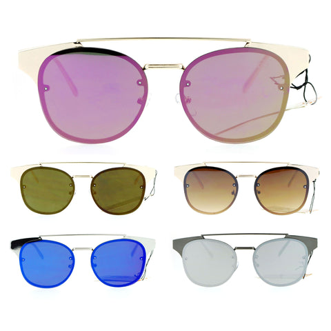 SA106 Womens Flat Top Metal Half Horn Rim Rimless Sunglasses