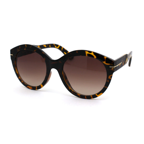 Womens Round Horn Rim Hipster Fashion Sunglasses