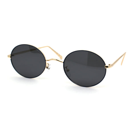 Womens Oval Round Shade Metal Rim Retro Sunglasses