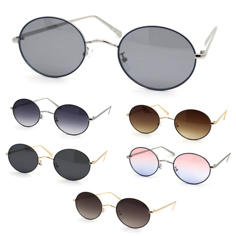 Womens Oval Round Dad Shade Metal Rim Retro Sunglasses