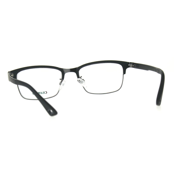 Optical Quality Metal Half Rim Narrow Rectangular Eyeglasses Frame
