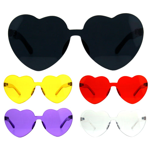 Womens Heart Shape Thick Panel Rimless Plastic Sunglasses