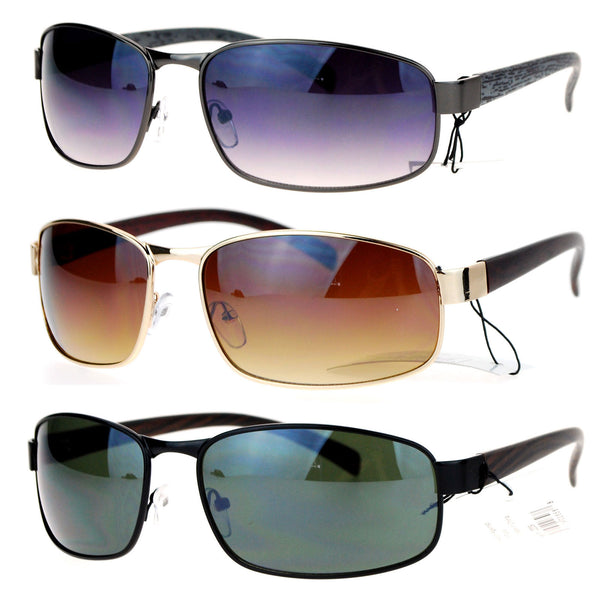 SA106 Wood Grain Arm Narrow Rectangular Sport Luxury Designer Sunglasses