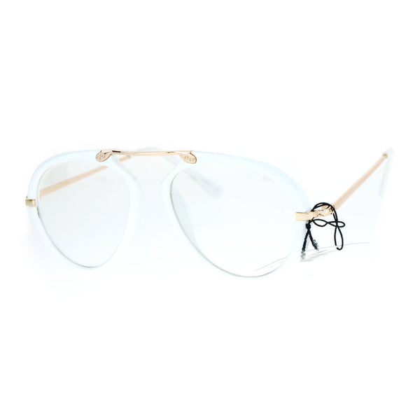 SA106 Unique Flat Top Bridge Plastic Aviator Racer Womens Clear Lens Glasses