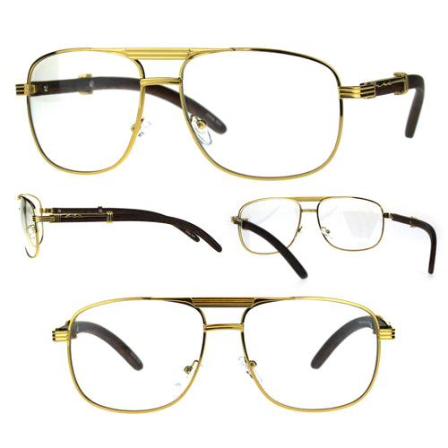Mens Rectangular Art Nouveau OG Luxury Pilots Style Eye Glasses Yellow Gold