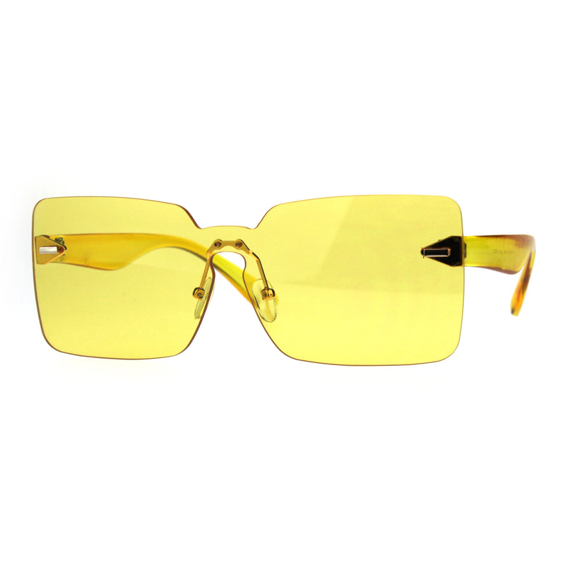 Womens Mod Flat Panel Shield Rectangular Oversize Retro Sunglasses