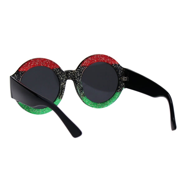 Stripe Glitter Pop Color Retro Thick Plastic Round Mod Sunglasses