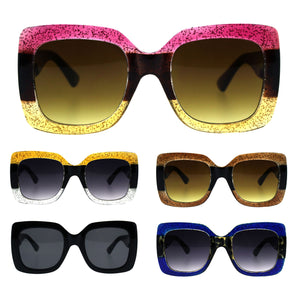 Stripe Glitter Pop Color Retro Thick Plastic Rectangular Mod Sunglasses