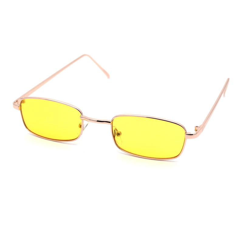 Mens Small Snug Narrow Rectangular Pimp Metal Rim Sunglasses