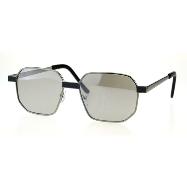 Mens Rigid Squared Rectangular Minimal Metal Fashion Sunglasses