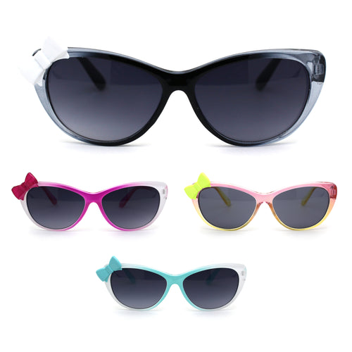 Child Size Girls Cat Eye Ribbon Trim Plastic Fashion Sunglasses