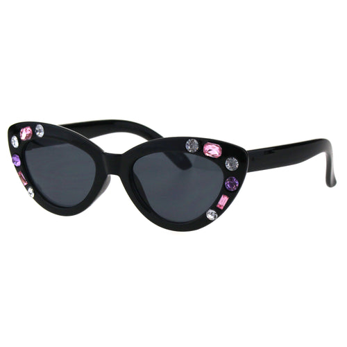 Kids Size Girls Large Rhinestone Bling Thick Plastic Mod Cat Eye Sunglasses