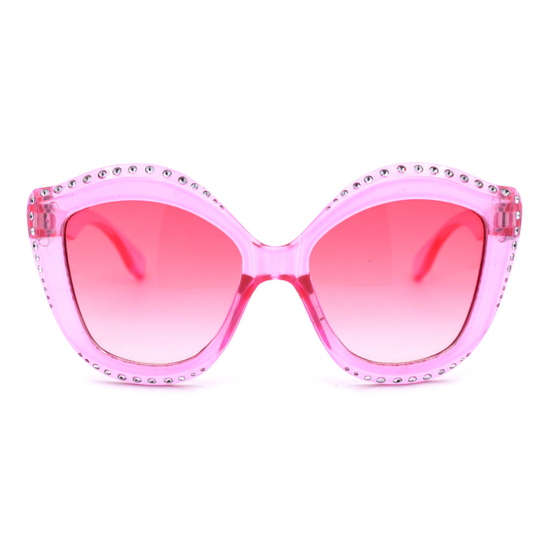 Kid Size Girls Bling Engrave Thick Plastic Butterfly Sunglasses
