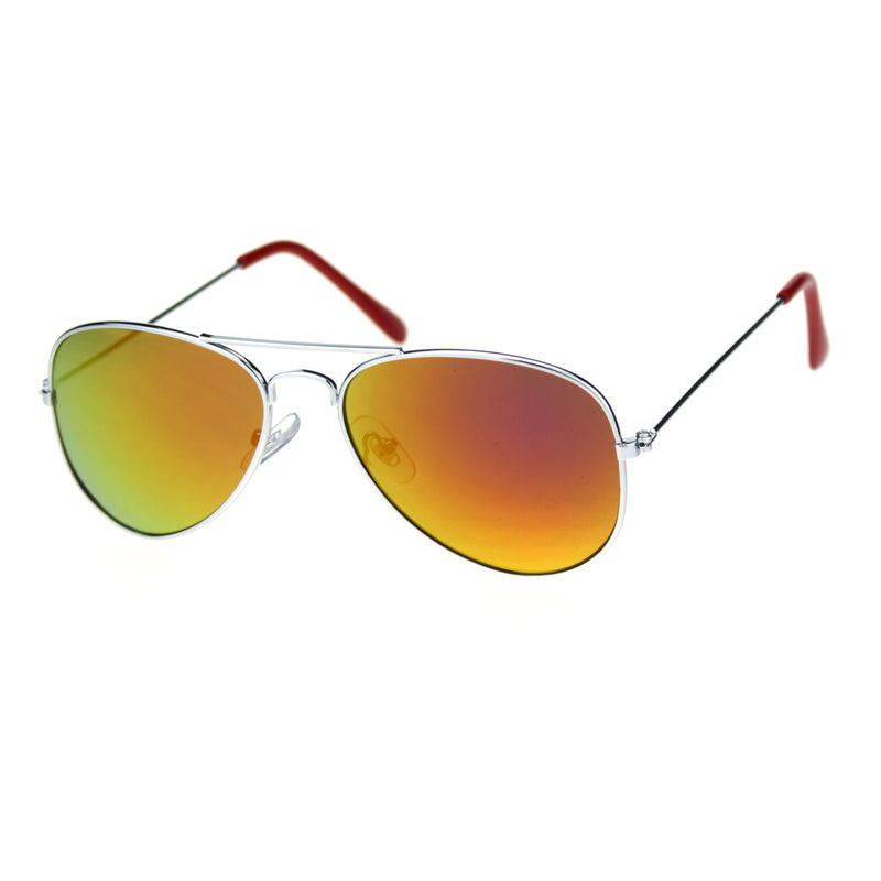 Child Size Reflective Color Mirror Silver Frame Cop Style Pilots Sunglasses