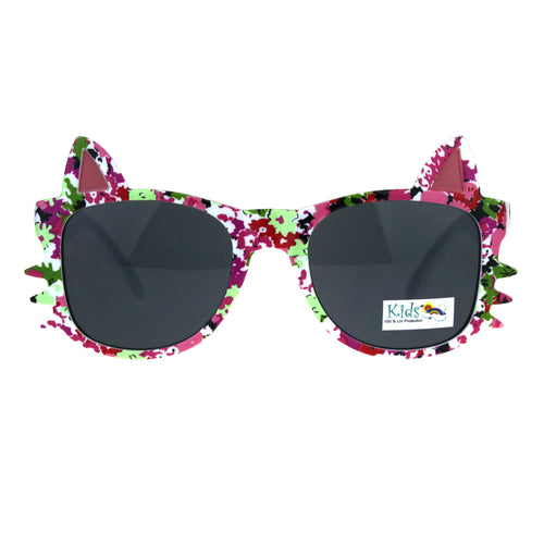 Childern Size Flower Print Kitty Ear Whisker Horn Rim Girls Sunglasses Fuchsia Pink