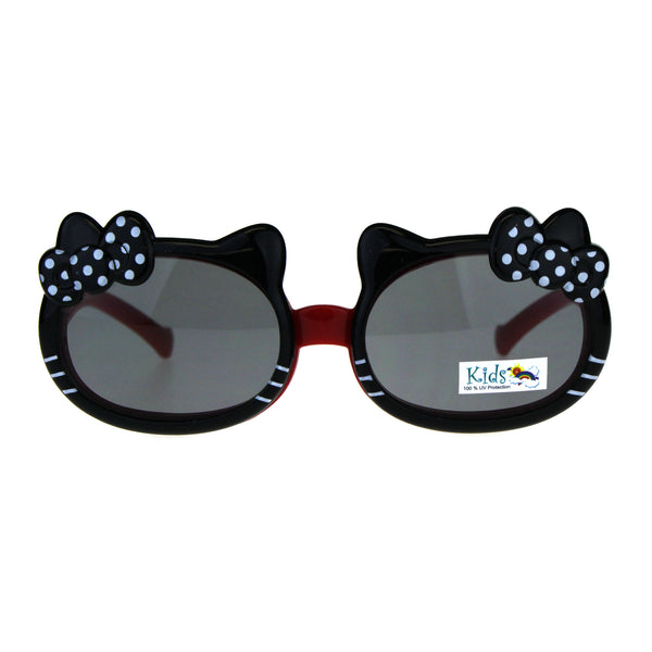 Childern Size Kitty Ear Whisker Flip Up Lens Girls Sunglasses