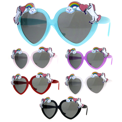 Children Size Girls Rainbow Unicorn Heart Shape Sunglasses