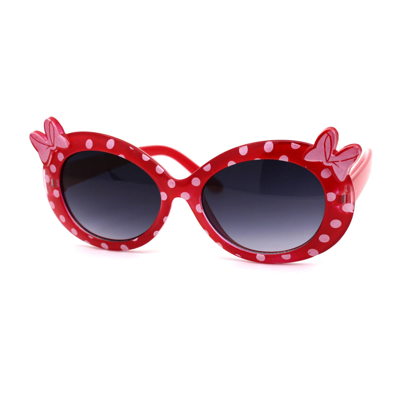 Girls Kid Size Polka Dot Bow Thick Plastic Oval Sunglasses