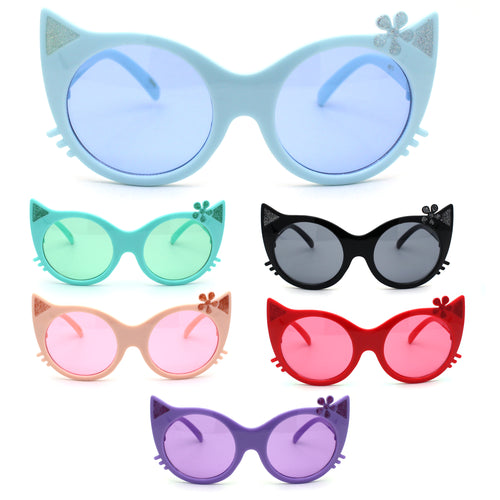 Girls Kitty Cat Ear Whisker Flower Cat Eye Kids Sunglasses