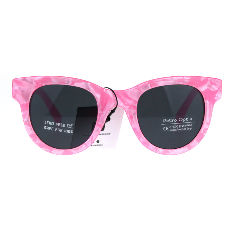 Girls Children Size Designer Style Horned Rim Retro Sunglasses