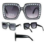Kids Size Girls Bling Concave Engraving Iced Out Rectangular Butterfly Sunglasses Black Smoke