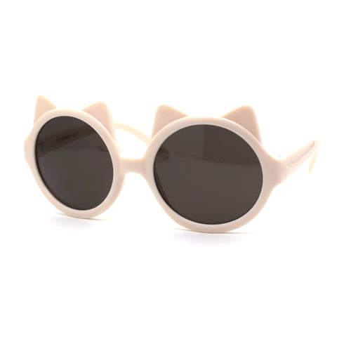 Girls Children Round Circle Lens Kitty Ear Fun Retro Plastic Sunglasses
