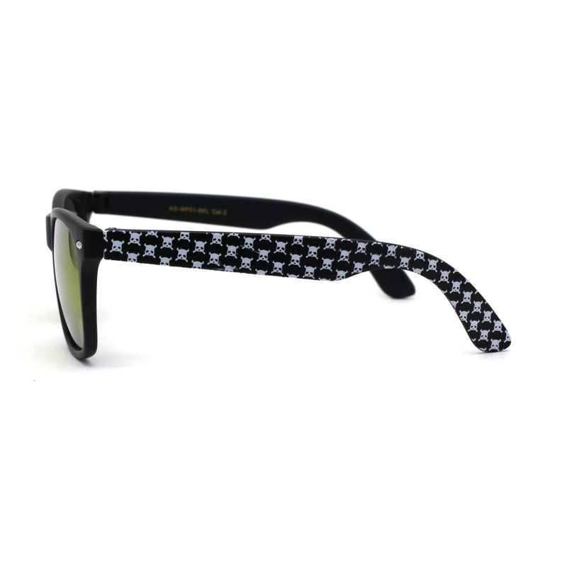 Boys Child Size Skull Print Arm Hipster Horn Rim Mirror Lens Sunglasses