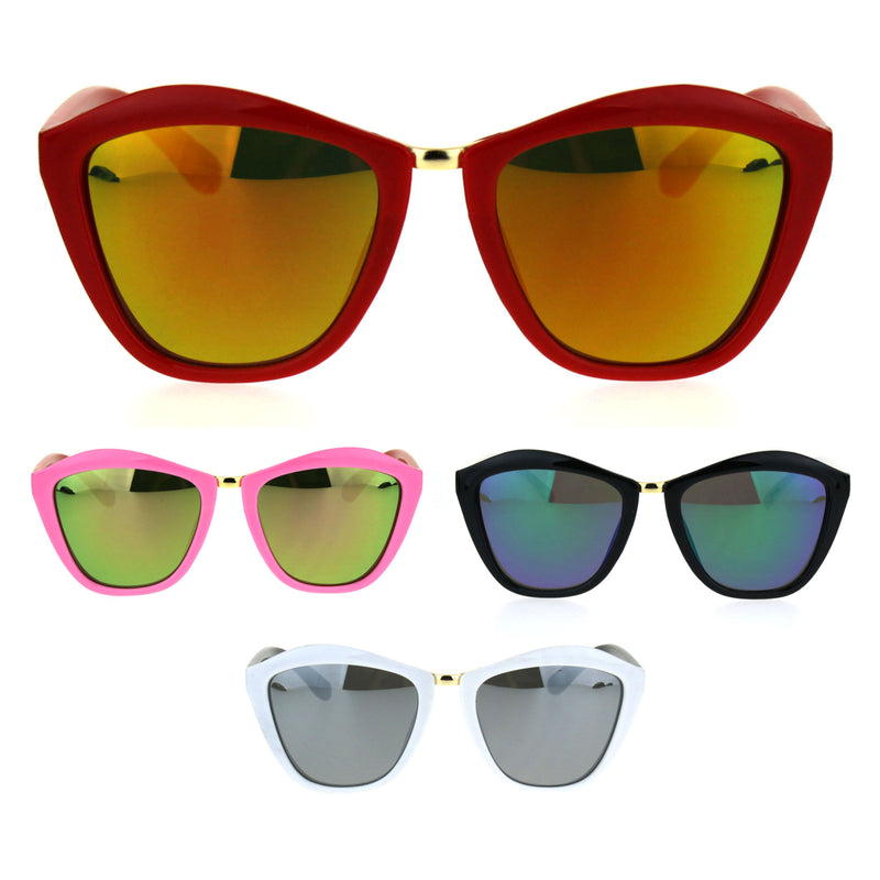 Girls Kids Size Colored Mirror Butterfly Cat Eye Designer Plastic Sunglasses