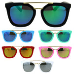 Kids Child Size Color Mirror Plastic Retro Metal Bridge Horned Sunglasses