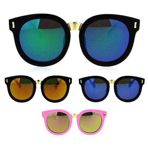 Kids Childern Size Color Mirror Plastic Retro Round Horned Rim Sunglasses
