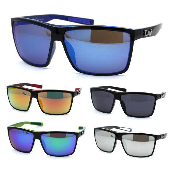 Locs Mens Oversize Rectangular Flat Top Gangster Plastic Sunglasses