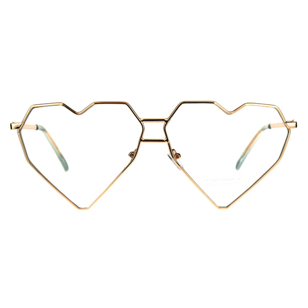 Womens Squared Heart Shape Metal Rim Clear Lens Eye Glasses