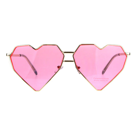 Womens Squared Heart Shape Oceanic Gradient Lens Sunglasses