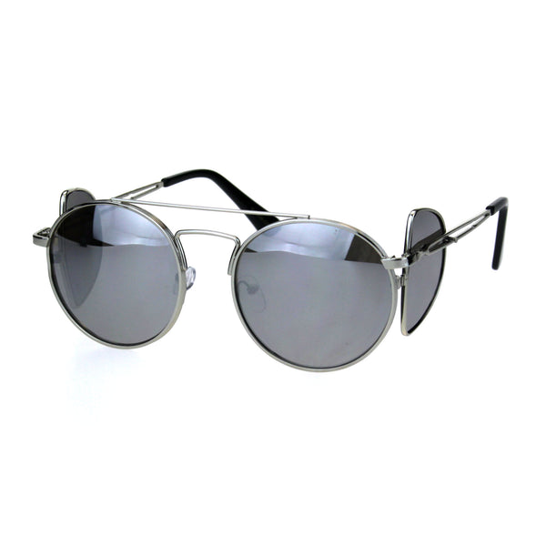 Mens Pimp Side Visor Round Circle Color Lens Metal Rim Sunglasses