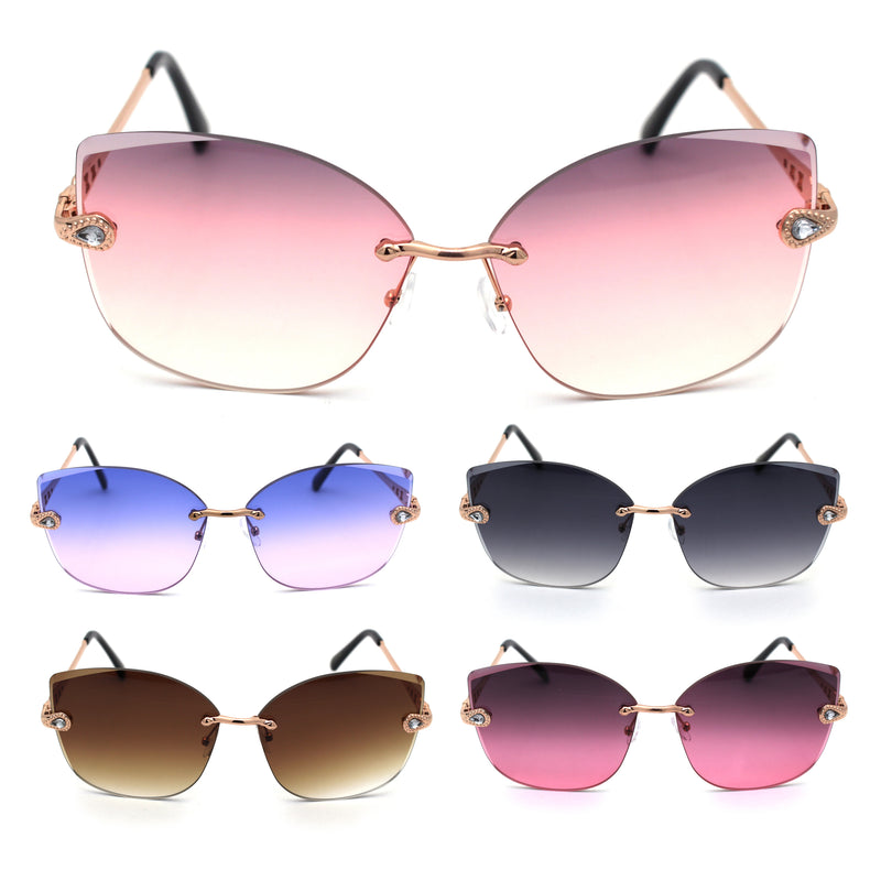 Womens Rhinestone Jewel Hinge Rimless Oversize Cat Eye Butterfly Sunglasses