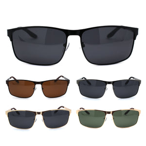 Mens Polarized Spring Hinge Rectangular Metal Rim Dress Sunglasses