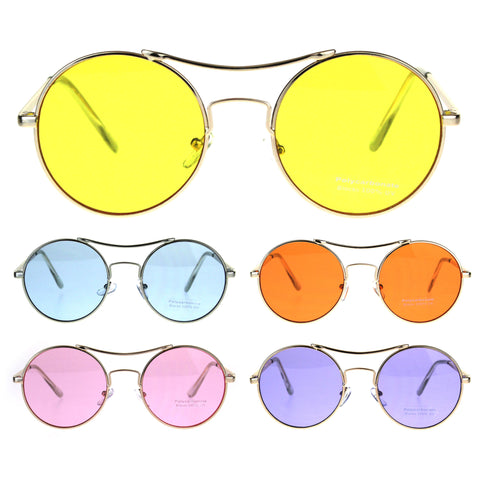 Pop Color Hippie Groovy Circle Round Lens Top Bridge Sunglasses