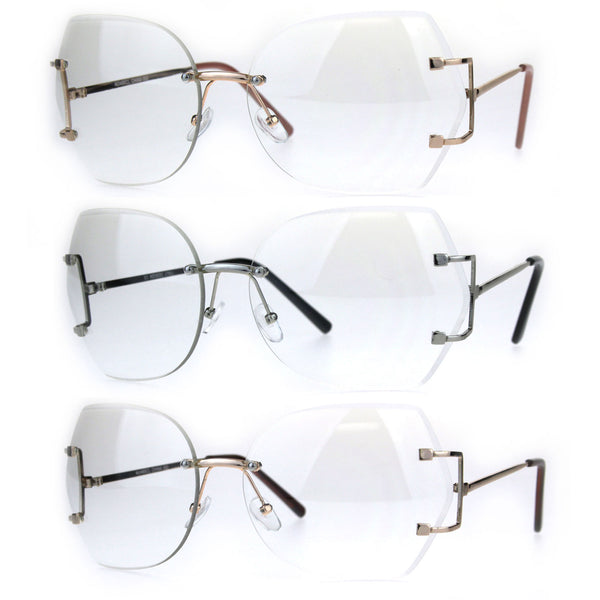Womens Clear Lens Butterfly Rimless Ironic Granny Eye Glasses