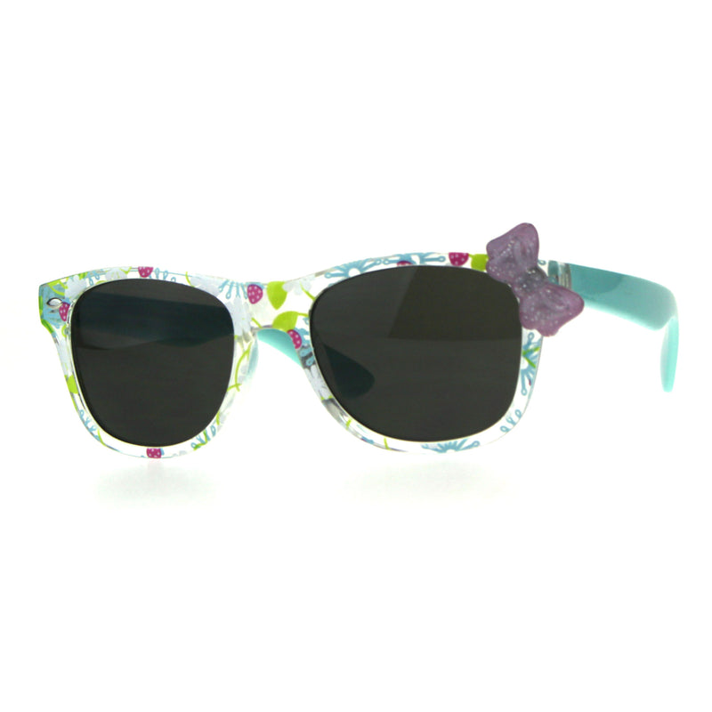 Girls Childern Size Horn Rim Glitter Bow Plastic Sunglasses