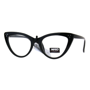 Womens Designer Goth Cat Eye Clear Lens Eye Glasses
