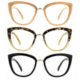 Womens Goth Cat Eye Clear Lens Luxury Diva Glasses