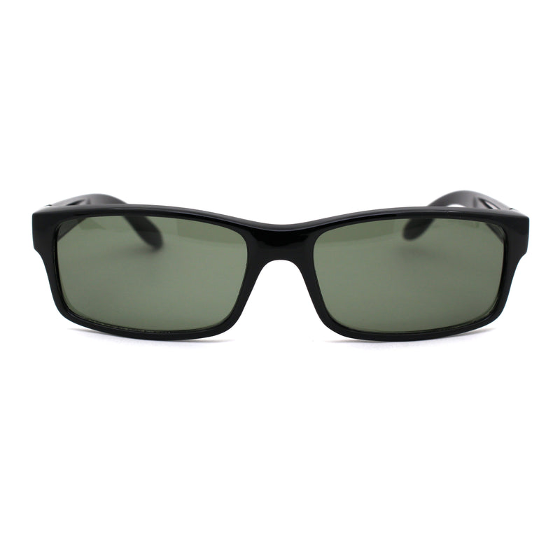 Mens Green Tempered Glass Lens Classic Plastic Rectangualr Dad Shade