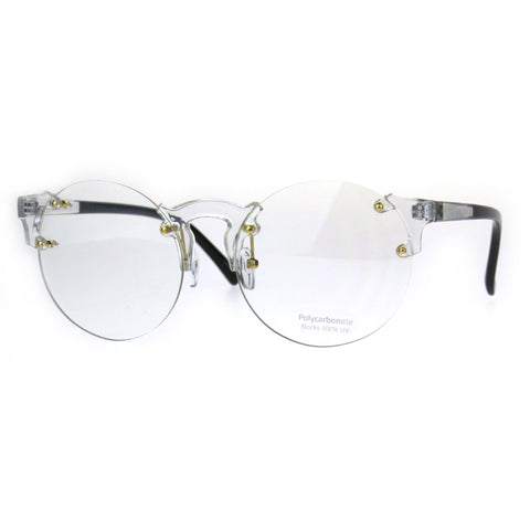 Unique Rimless Round Circle Clear Lens Eye Glasses