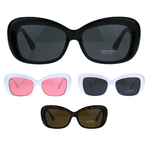 Womens Rectangular Mod Thick Plastic 20s Style Retro Sunglasses