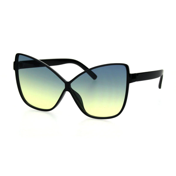 Womens Oceanic Gradient Lens Oversize Cat Eye Retro Sunglasses Black Blue Yellow