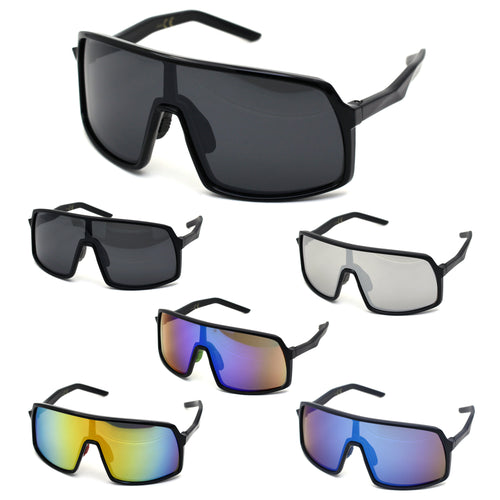 Mens Oversize Futurist Robotic Shield Sport Sunglasses